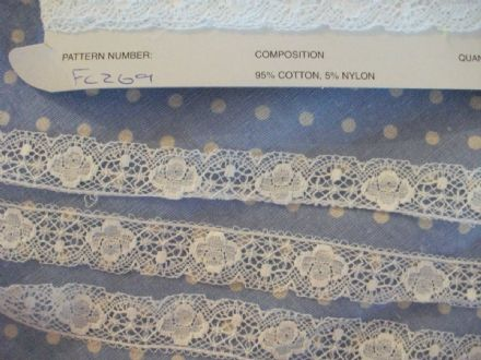 40 m Exclusive FC269 OFF  White Cotton Nottingham Valenciennes Lace by Cluny Lace Co